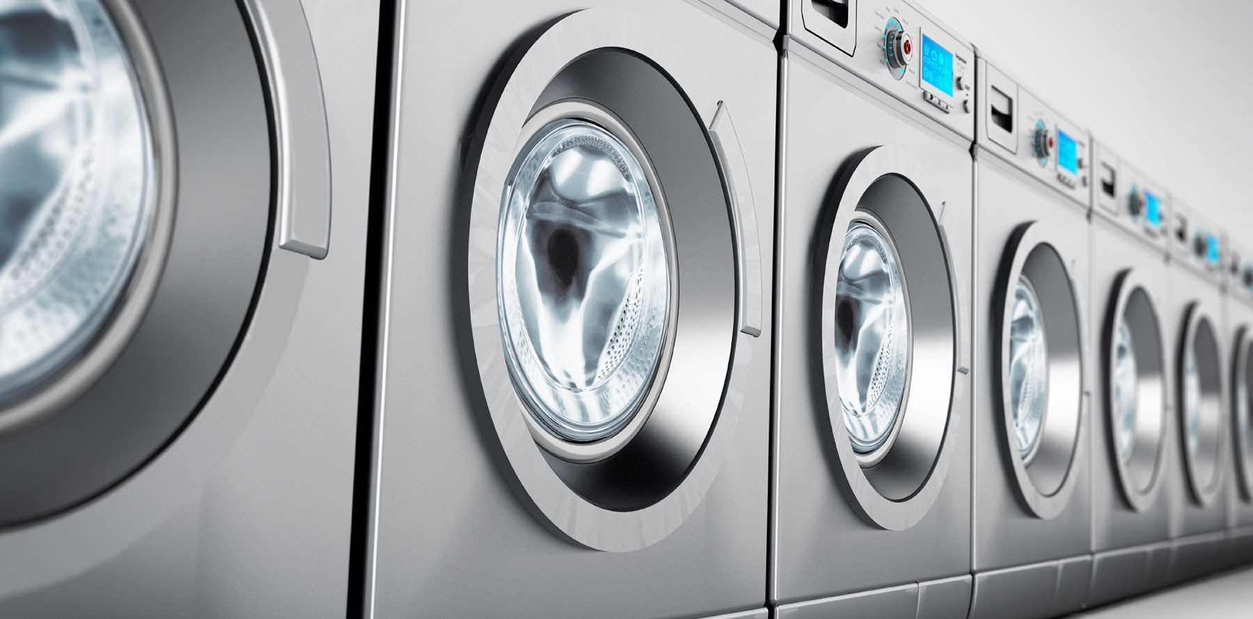 Chrome Machine in row BDS Laundry